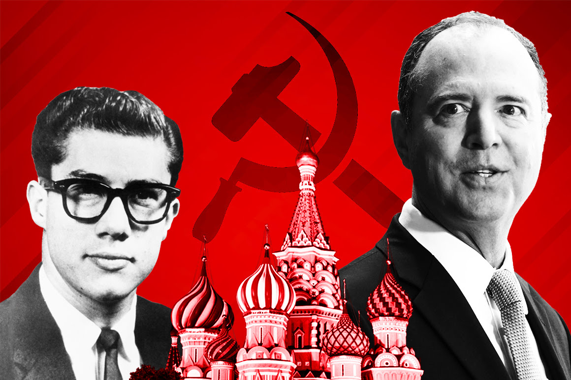 Adam Schiff is pictured on a red backdrop with a hammer and sickle and Kremlin in the foreground.